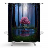 sihirli kancalar toptan satış-Büyülü Orman Ağacı Duş Perdesi, sihirli Fairytale Woodland Orman Ağacı Montain Polyester Duş Perdesi Hooks ile Banyo için Set