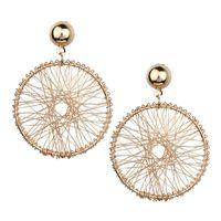 ornamentos em ouro livre venda por atacado-Design simples Mulheres Brincos De Metal Geométrico Espiral Exagerada Helispherical Ornaments Orelha Gota de Ouro Frete Grátis