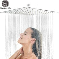 placa de chuveiro de aço inoxidável quadrada venda por atacado-30 cm * 30 cm de Aço Inoxidável Showerheads 12 polegada Cabeça de Chuveiro de Chuva Quadrada Ultra-fino Rain Shower Faucet Cabeça Acabamento Cromado