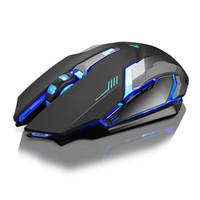 x7 fare toptan satış-Şarj edilebilir X7 Kablosuz LED Aydınlatmalı USB Optik Ergonomik Oyun Fare Sem Fio Moda Bilgisayar Oyunları Fare Pro Gamer Için