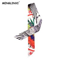 небольшие ленточные ленты оптовых-MENGLINXI Bag Ribbon Sacrf 2018 New  Women Small Silk Scarf Feather Print Headband Handle Bag Ribbon Fashion Long Scarves