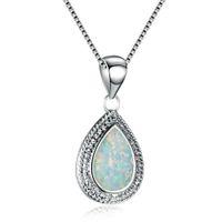 ingrosso pendente d'acqua opale d'acqua-Big White Opal Stone Tear Water Drop Pendant Neckalce cristallo per le donne Argento Filled Wedding Engagement regalo gioielli