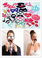 eğlenceli düğün partisi sahne toptan satış-Sıcak Şenlikli Bahçe 34 Adet / takım Düğün Photo Booth Dikmeler Parti Süslemeleri Eğlence için Yeni catglass Malzemeleri Maske Bıyık photobooth Şekeri