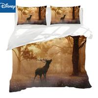 vollgröße betten verkauf großhandel-Neue Textilien Deer Elk Striped ua Queen-Size-Bettwäsche-Sets 3 / 4pcs enthalten Bettbezug voller Größe Bettlaken Kissenbezug heißer Verkauf