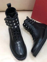 Wholesale spiked platform boots resale online - Hot Sale spring fall womens Ladies black calf REAL Leather chunky platform Lugged rubber sole Combat Military punk spike Rivets BOOTS