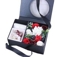 buquê vermelho preto venda por atacado-Sabão de flores Bouquet com embalagem Box Red Box Perfumado Rosa para o dia de Valentine Sabão Rosa na presente, Preto