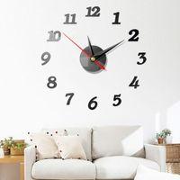 Wholesale modern decor pieces resale online - 1Pcs Modern Large Wall Clock D Mirror Sticker Unique Big Number Watch DIY Mural Wall Art Stickers Decor mm
