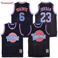 baloncesto negro jersey envío gratis al por mayor-Space James Bugs Bunny Yosemite Sam Jersey Blanco Negro Camisetas de baloncesto Tune Squad Jersey Envío gratis