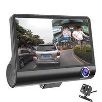 çizgi kameralar hd çift lens toptan satış-Yeni 3 Kameralar Araba DVR 4 inç IPS Çizgi Kam üç yönlü yüksek hızlı Full HD 1080 P Sürüş DVR Çift Lens Özel Kaydedici Seyahat için