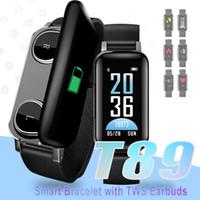 смотреть наушники bluetooth оптовых-2 в 1 T89 TWS Smart Binaural Bluetooth 5.0 наушники фитнес-браслет смарт-браслет наушники сердечного ритма спортивные часы с розничной упаковке