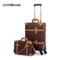 ingrosso rotolo in pelle marrone-COTRUNKAGE Mens TSA Lock Vintage Carry On Valigia Marrone Pu Leather Rolling Trunk Donna Set bagagli 2 pezzi con custodia cosmetica