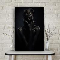 nackte afrikanische kunst großhandel-1 Stücke Schwarz Nackt Afrikanische Kunst Frau Leinwand Malerei Cuadros Poster und Drucke Skandinavischen Wandbild für Wohnzimmer Kein Rahmen