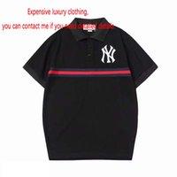 tops negros de polo al por mayor-Nuevo diseñador Marca camiseta para hombre polo negro camisetas tops de algodón camisetas polos de verano para hombre ropa de lujo