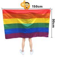 suministros de fiesta de estados unidos al por mayor-Rainbow Flag Shawl USA Flag Cape 90 * 150cm America Rainbow Gay Pride Flags Festival Party Banner Decorations Supplies HHA707