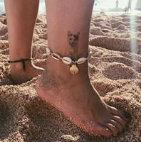 ingrosso corde del cotone-Estate nuova spiaggia vacanza conchiglia naturale cavigliera sesso ciondolo guscio d'oro cavigliera corda di cotone cavigliera moda gioielli