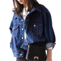 jaqueta coreana azul venda por atacado-Coreano Denim Jacket curto Brasão Classic Blue Denim das mulheres Casual Jacket Cut Long Sleeve Exteriores modelos básicos mulheres G1092