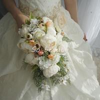 weiße rose gefälschte blumen großhandel-Rose Pfingstrose Braut Cascading Bouquet Hochzeitssträuße Braut Mädchen Blumen Home Party Dekoration Gefälschte Tabelle Blume Weiß Rosa