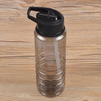 цилиндрическая водная бутылка черного цвета оптовых-Флип соломы напитки Спорт гидратация бутылка воды Велоспорт пешие прогулки BPA бесплатно черный