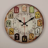 Wholesale london home decor resale online - Vintage cm Round Home Decor Wooden Wall Clock With Arabic Number and Good Time With Good Friend London Printed Inches Clock