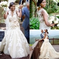 Wholesale plus size wedding brides dresses long for sale - South African Summer Boho Wedding Dresses Mermaid Sheer Neck Appliques Champagne Long Bride Wedding Gowns Plus Size BC1362