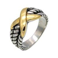 925 ringe mischen farbe großhandel-925 Silber Ring für Frauen 925 Silber Schmuck Mode klassischen Retro-Folk-Stil Farbe X Ring S925 Trauringe Top Golden Mix Design