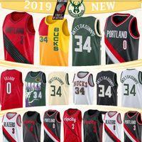 blazer toptan satış-Giannis 34 Antetokounmpo Milwaukee Forma Bucks Blazer Damian 0 Lillard CJ 3 McCollum yeni erkek basketabll formaları