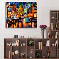Wholesale beach art decor online - The Bridges Of Amsterdam Beach Towel HD Canvas Painting Print Bedroom Home Decor Modern Wall Art Oil Painting Poster Framework