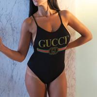 tek parça banyo uygun arkalıksız toptan satış-Yaz Bikini G Harfler ile Set Yeni Marka Kadınlar için Mayo mayo Kadınlar Tasarımcı Tek parça Takım Elbise Seksi Backless Beachwear S-XL Sıcak