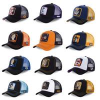 sombreros de malla al por mayor-Nuevo Dragon Ball Z Sombrero de malla Goku Gorra de béisbol de alta calidad Negro Amarillo de ala curvada Snapback Cap Gorras Casquette