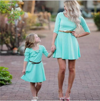 Wholesale matching family outfits for summer resale online - Kids Sky Blue Dresses for Girls Mother Daughter Elegant Dress New Mommy and Me Family Matching Clothes Outfits
