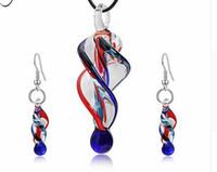 opalschalenanhänger großhandel-Persönlichkeit Glas Spirale Schmuck Set Frauen Unregelmäßige Glasform Anhänger Charme Halskette Baumeln Ohrringe Bijoux Geschenk