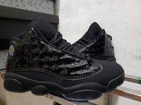 siyah rahat kıyafet toptan satış-13 Kap ve Kıyafeti Tüm Siyah Erkekler Rahat Ayakkabılar kaliteli patent deri 414571-012 Ucuz Erkek Casual Trainer