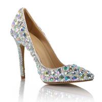 zapatos de diamantes sexy al por mayor-Lujo colorido diamante zapatos de boda dama de cuero genuino sexy punta estrecha 10 cm stiletto tacones altos vestido de fiesta nupcial zapatos de gran tamaño