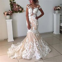 Wholesale mermaid wedding dresses free shipping resale online - White Lace Appliques Champagne Mermaid Wedding Dresses Open Back D Flowers Sexy Bridal Gowns New Arrival mermaid dress