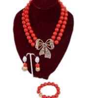 jóia cor de laranja venda por atacado-Genuine Red White Orange Coral Colar Set Contas de Casamento Edo Nupcial Set Jóias Para Mulheres Africanas Moda Jóias China 2018