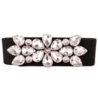 Wholesale black elastic rhinestone belt for sale - Group buy Elegant Rhinestone Women Waist Belts Shinning Crystal Girl Lady Thin Elastic Waistband