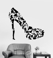 Wholesale bedroom wall art for girls resale online - Creative Design High Heel Fashion Shoes Store Window Decals Vinyl Wall Sticker Home Decor Girls Bedroom Removable Wallpaper