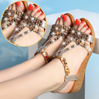 Wholesale fashion bling shoes resale online - 1Nice Tops Fashion WoMen Ladies Summer Crystal Bling Wedges Bohemia Beach Shoes Roman Sandals