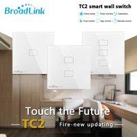 ir painel de iluminação venda por atacado-Broadlink TC2 WiFi Mudar UK UE US 1 2 3 Gang Light Switch Touch Panel IR + RF trabalho de controle remoto com Alexa Página inicial do Google APP