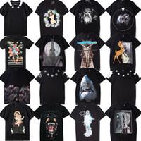 yeni desen gömlek erkek toptan satış-Yeni Rottweiler Köpekbalığı desen Erkekler Tasarımcı T Shirt kadın Paris marka giyim baskılı T-shirt Yüksek kalite% 100% pamuk erkek Tshirt 16 Stil