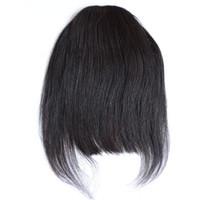 cabello virgen sin procesar para negros. al por mayor-Virgin Human Hair Bangs Seda Recta Crudo Clips sin procesar en extensiones de cabello Productos Longitud corta Color negro natural 1 pieza