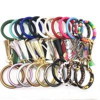 pulseiras de corrente venda por atacado-Borla Encantos Pulseiras De Couro Envoltório Cadeia Pingente Pulseiras Chaves Anel Pulseiras 18 Cores para Escolher ZZA1016