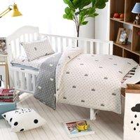 bebekler için hayvan yatak takımları toptan satış-% 100 cottotton 3pcs / set bebek Yatak set yastık kılıfı + çarşaf + nevresim Taç zebra hayvan karikatür desen doldurmadan