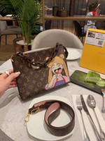 Wholesale lovely cosmetic bags resale online - Women bag new trend cartoon character graffiti cosmetic bag Fresh and lovely casual lady handbag size25