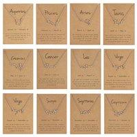 horoskop schmuck großhandel-12 Sternbild Sternzeichen Halskette Horoskop Zeichen Zirkon koreanischen Schmuck Star Galaxy Waage Astrologie Frauen Halskette Geschenk mit Retail-Karte