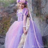 rapunzel cosplay kostüm toptan satış-Tangled Prenses Kabarık Elbise Rapunzel Cosplay Kostüm Akşam Balo Parti Abiye Için Çocuk Uzun Elbise 4-10 T Için Rol oynamak Kız Giysileri