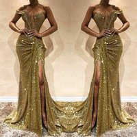 Wholesale mermaid dresses resale online - Glittering Sequined Party Gowns Chic One Shoulder High Split Formal Evening Dress Sexy Mermaid Prom Dresses Plus Size