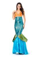 fantasia azul vestidos venda por atacado-Glamcare Mermaid Halloween Costume Boate Bar Stage Sexy Fancy Dress Masquerade Bola Azul S-M