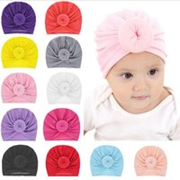 Wholesale multi color balls online - Infant Toddler Unisex Ball Knot Indian Turban Kids Spring Autumn Caps Baby Donut Hat Solid Color Cotton Hairband colors MMA1297