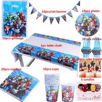 tedarikçiler doğum günü partisi dekorasyonları toptan satış-Ücretsiz Kargo 100 adet Lüks Mutlu Doğum Günü Kidsthe Avengers Parti Duş Dekorasyon Sofra Takımları Tedarikçiler Toptan J190723